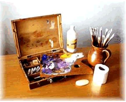 Materiales el Caballete en Curso de Pintura al Oleo